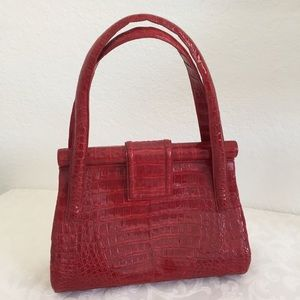 NANCY GONZALEZ Red Top Handle Crocodile Bag.